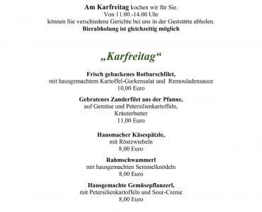Karfreitag – Wir kochen für Sie!